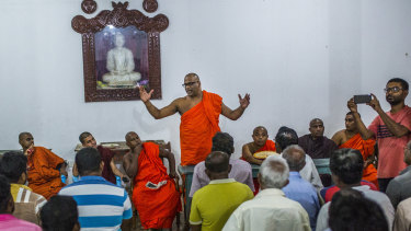 Buddhist monk Galagoda Aththe Gnanasara Thero at a temple in Gintota, Sri Lanka.