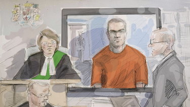 In a courtroom sketch from a 2018 hearing Alek Minassian is in orange.