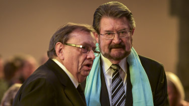 Harold Mitchell and Derryn Hinch at the state funeral for Sisto Malaspina.