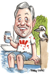 Brian Hartzer and family have purchased a new house on Pittwater. Illustration: John Shakespeare