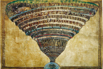 Botticelli painted this parchment map of the nine circles of Hell having read Dante's Divine Comedy in the 1480s.