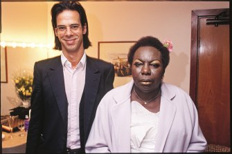 Nick Cave and Nina Simone in Nina's dressing room at the Meltdown Festival in 1999.