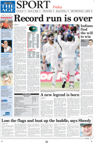 Back page of The Age, March 16 2001