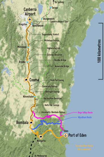 A map of the proposed Eden to Canberra railway line.