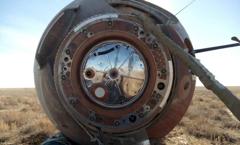 The Soyuz MS-10 space capsule lays in a field after an emergency landing near Dzhezkazgan, Kazakhstan, on Thursday.