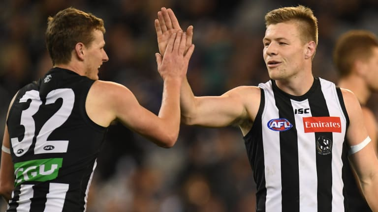 Will Hoskin-Elliot (left) and Jordan de Goey have been dynamic up forward for the Pies this year.