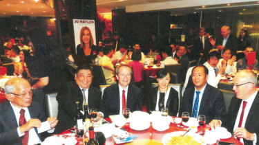 Then federal and state Labor leaders, Bill Shorten and Luke Foley attending the fundraiser, along with Mr Huang (second from right) and former Labor MP Henry Wong (second from left).