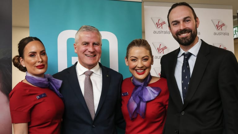 Deputy PM Michael McCormack (second from left) says the flights were a tourism play for the Hunter and regional NSW.