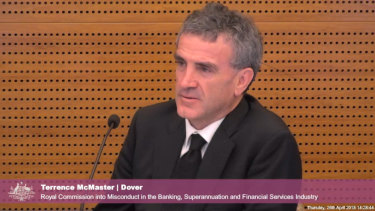 Terrence McMaster at the royal commission before his collapse.