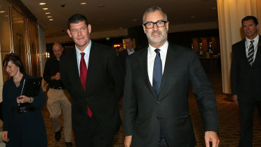 James Packer with former Crown executive chairman Rob Rankin arriving for the casino operator's annual general meeting in 2015.