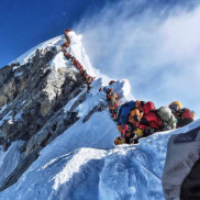 A picture by climber Nirmal Purja shows heavy traffic of mountain climbers lining up to stand at the summit of Mount Everest.
