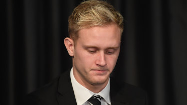 Jaidyn Stephenson after being suspended for betting on games involving the Magpies.