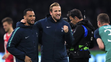 Harry Kane (centre) celebrate's Tottenham's progression to the Champions League final.