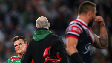 Liam Knight stares down Jared Waerea-Hargreaves after he was concussed at the end of 2019.