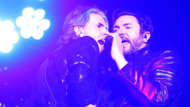 Duran Duran bassist John Taylor (left) and singer Simon Le Bon.