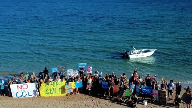 Exmouth locals rally against Gascoyne Gateway's proposal at Qualing Beach.