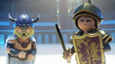 Lead characters Charlie and Marla in their Playmobil form.
