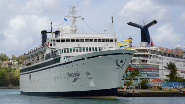 The Freewinds cruise ship is docked in the port of Castries, the capital of St Lucia.