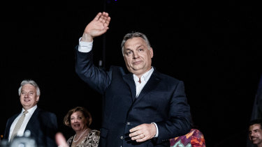 Hungarian Prime Minister Viktor Orban at the Fidesz party headquarters in 2018.