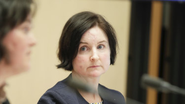 Sarah Chidgey from the Attorney-General's Department during a Senate Select Committee hearing on COVID-19