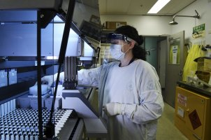 Senior hospital scientist Anna Condylios  at work in the lab of the Prince of Wales Hospital.