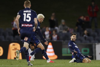 Daniel De Silva celebrates what turned out to be the winner for Central Coast.