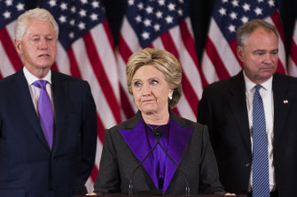Hillary Clinton concedes the presidential election supported by her husband, former president Bill Clinton and her running mate, Tim Kaine, in 2016.