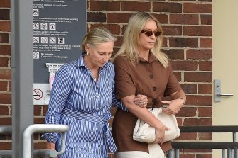 Phoebe Burgess and her mother Sarah Hooke leave Moss Vale Local Court on Monday.