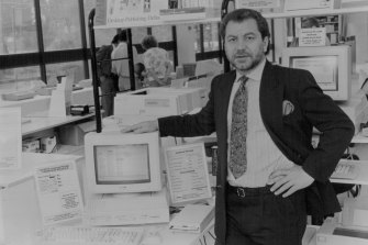 Alan Sugar with an Amstrad computer (the name comes from Alan Michael Sugar Trading) in 1990.