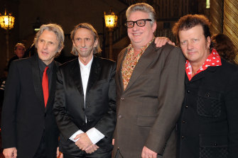 Mental As Anything original members, from left, Peter O'Doherty, Chris O'Doherty (also known as Reg Mombassa), Greedy Smith and Martin Plaza at the 2009 ARIA Hall Of Fame Awards in Melbourne.