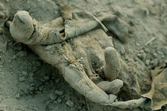 An unidentified Iraqi boy's hand protrudes from his makeshift grave in the garden area next to the carpark at the Saddam City Hospital, Baghdad, in 2003.