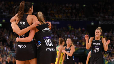 The Silver Ferns celebrate their win in Sydney.