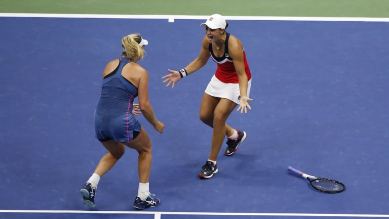 Epic: The pair had to fight off three match points to secure the victory.