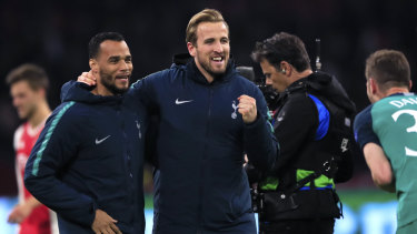 Harry Kane (centre) celebrate's Tottenham's progression to the Champions League final.