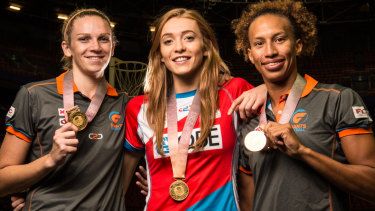 English Commonwealth  Games gold medal winners Jo Harten, Helen Housby and Serena Guthrie.