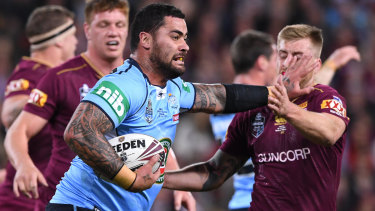 Big performer: Andrew Fifita was immense for the Blues in game one in 2017
