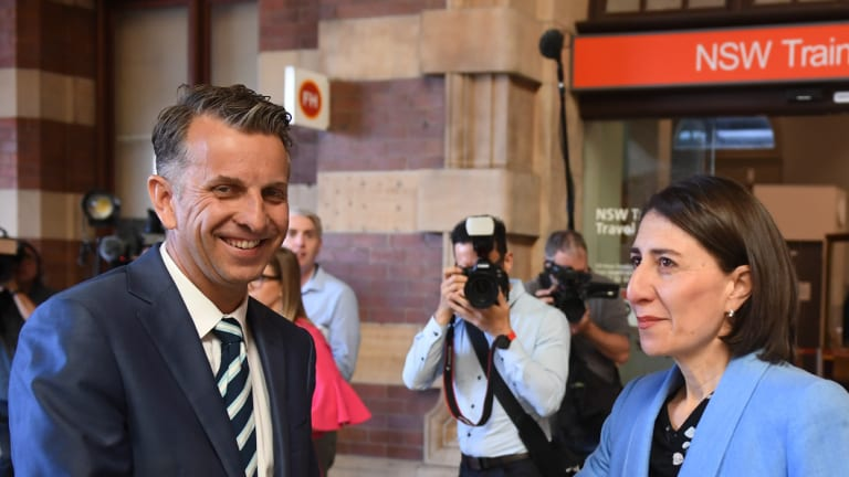 Transport Minister Andrew Constance with Premier Gladys Berejiklian. Mr Constance has said a Metro West rail line is critical