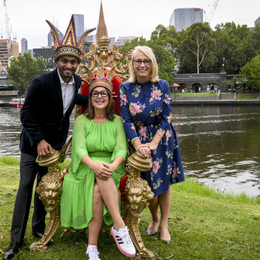 Moomba Festival 2020 monarchs Julia Morris and Nazeem Hussain with Lord Mayor Sally Capp, just over a month before Melbourne went into its first lockdown.