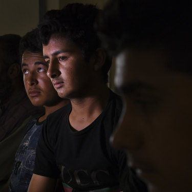 Shah Mohammad, 17, with other unaccompanied minors at Zero Point on the Afghanistan-Iran border.