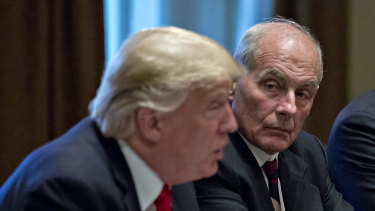White House chief of staff John Kelly (right) was accused of calling the President an idiot.