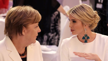 Ivanka Trump talks to German Chancellor Angela Merkel at a dinner after the W20 summit in Berlin in 2017.