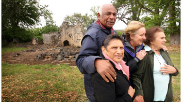 Then Indigenous affairs minister Jenny Macklin with Gunditjmara elders (left to right) Ken Saunders, Euphemia Day and June Gill in front of one of the homes on the mission after their native title victory in 2008.