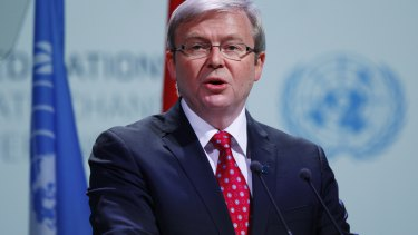 Then-prime minister Kevin Rudd delivers a speech in the plenary of the UN climate summit in Copenhagen in 2009.