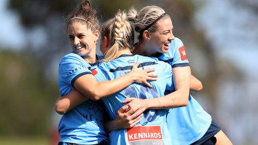 Ellie Brush (left) is hoping a strong season with Sydney FC can put her back in calculations for the Matildas.