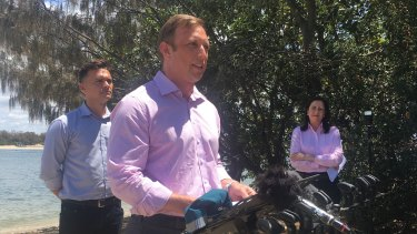 Deputy Premier and Health Minister Steven Miles campaigning at the Spit this morning.