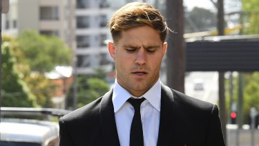 St George Illawarra footballer Jack de Belin, 29, has pleaded not guilty to aggravated sexual assault.