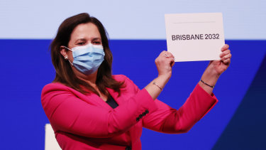 Ms Palaszczuk celebrates after Brisbane was announced as the 2032 Summer Olympics host city.