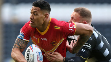Israel Folau during his first Super League game on British soil last month.