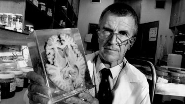 Professor John Hilton in 1993, shortly after he took over as head of the NSW Institute of Forensic Medicine.