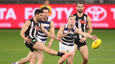 Captain Scott Pendlebury was superb for Collingwood against Geelong at the historic fixture at Optus Stadium.